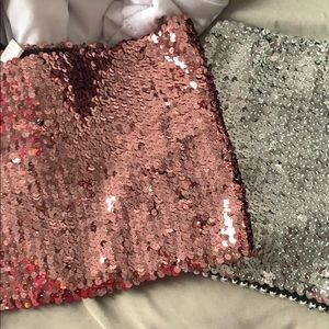 TWO SHIMMER CROP TOPS